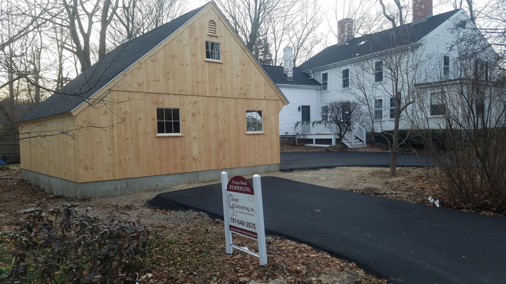 """The """"saltbox"""" style roofline is lower in the back than the front."""